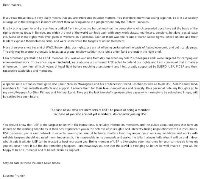 Laurent Prunier letter