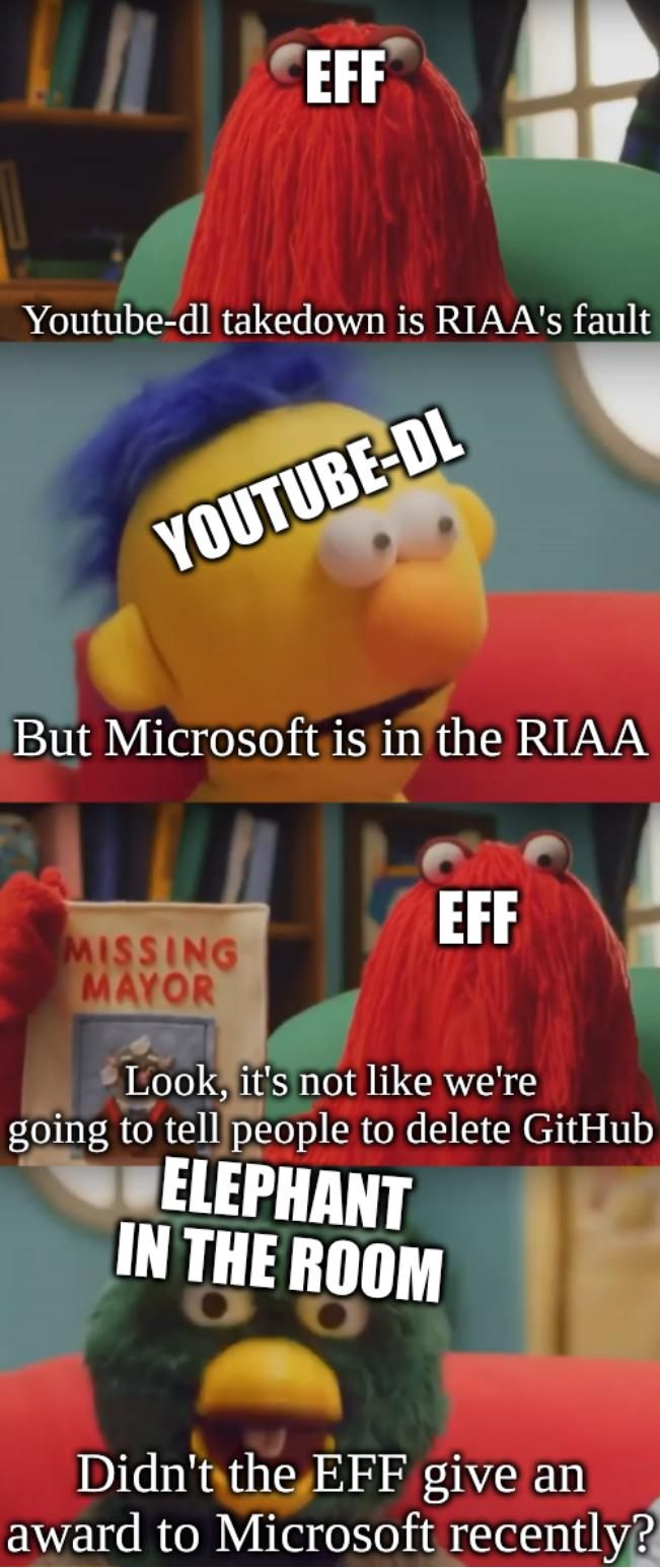 Dhmis argument: EFF: Youtube-dl takedown is RIAA's fault, Youtube-dl: But Microsoft is in the RIAA, EFF: Look, it's not like we're going to tell people to delete GitHub, Elephant in the room: Didn't the EFF give an award to Microsoft recently?