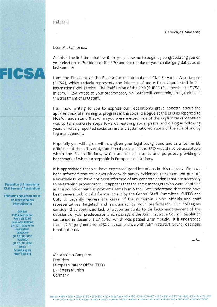 FICSA letter to EPO's Campinos Page 1