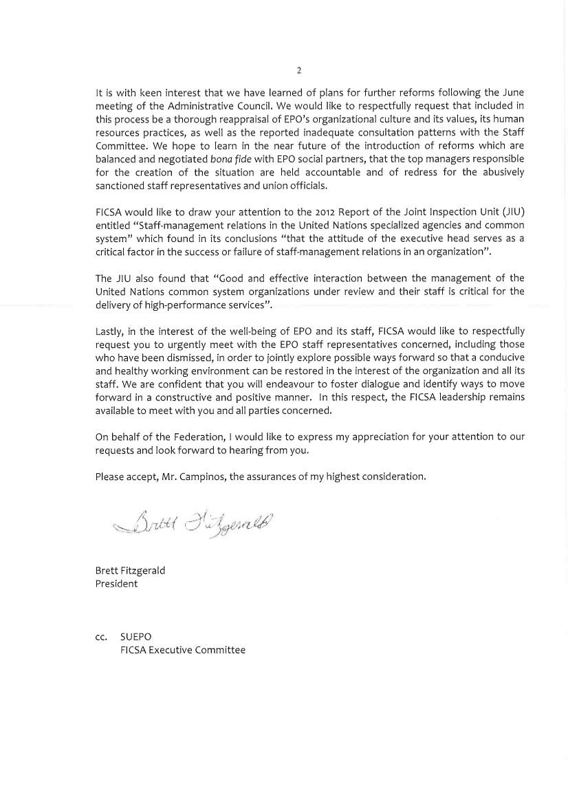 FICSA letter to EPO's Campinos Page 2