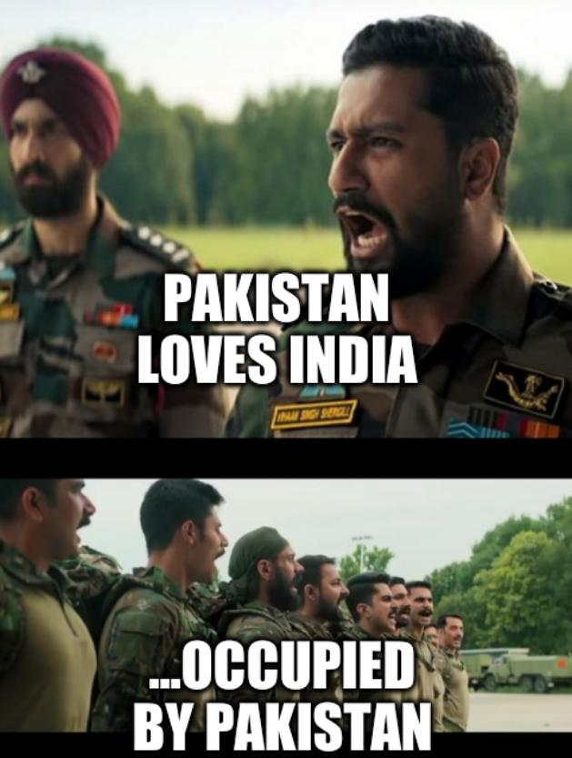 Pakistan loves India; ...occupied by Pakistan