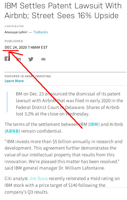 IBM Settles Patent Lawsuit With Airbnb; Street Sees 16% Upside