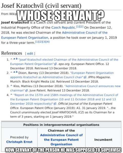 Whose servant? Now servant of the person he was supposed to supervise