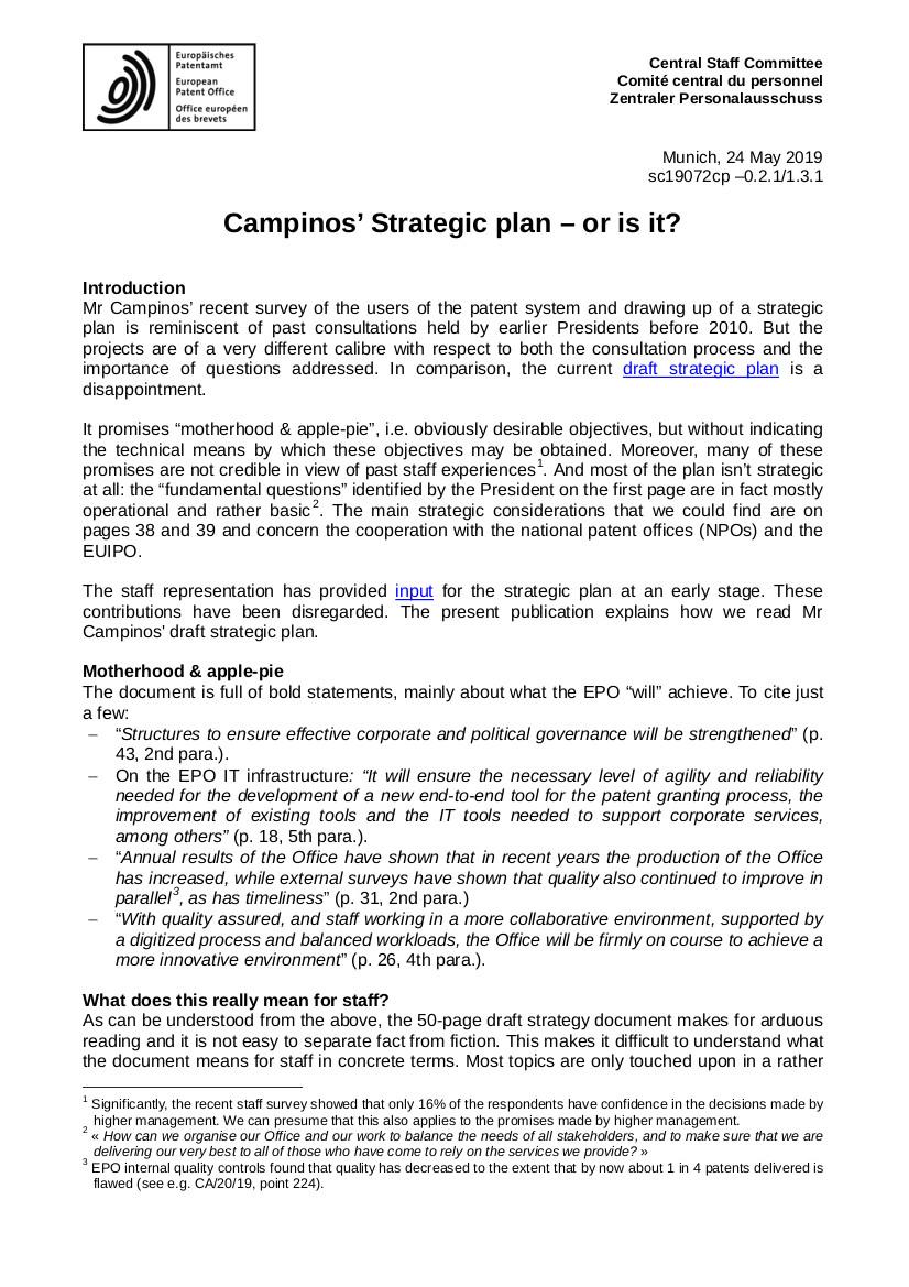 EPO strategic plan 1