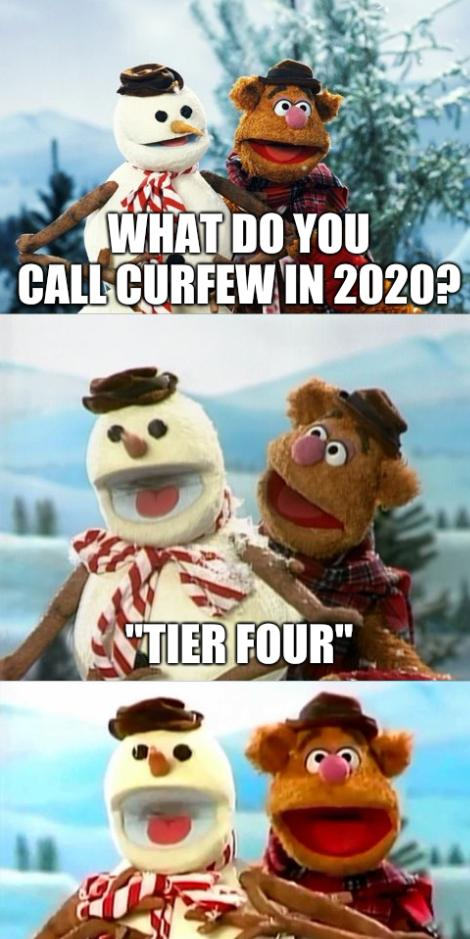 What do you call curfew in 2020? 'Tier Four'