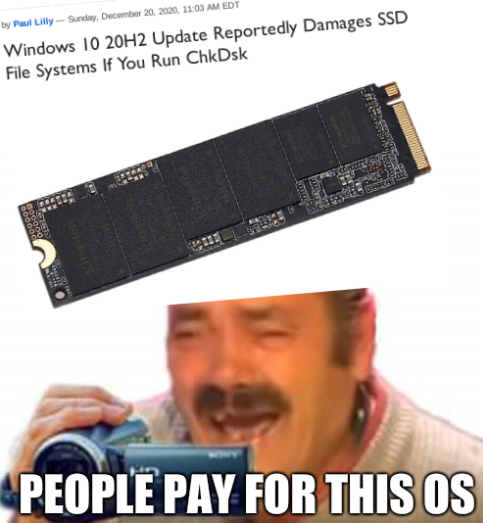 Vista 10 SSD: People pay for this OS