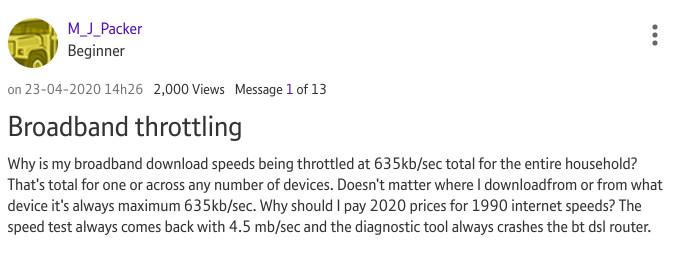 BT throttling example #1