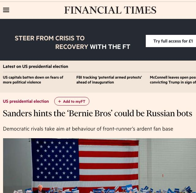 Sanders hints the 'Bernie Bros' could be Russian bots