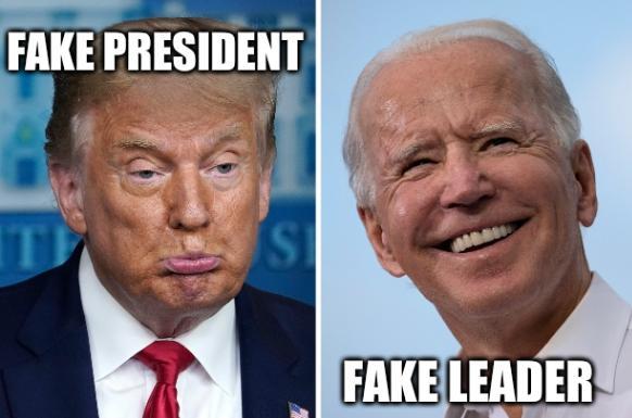 Sad Trump, happy Biden: fake president, fake leader