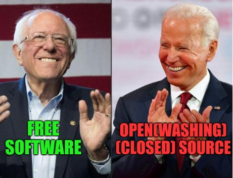 Sanders and Biden: Free software, Open(washing) (closed) Source