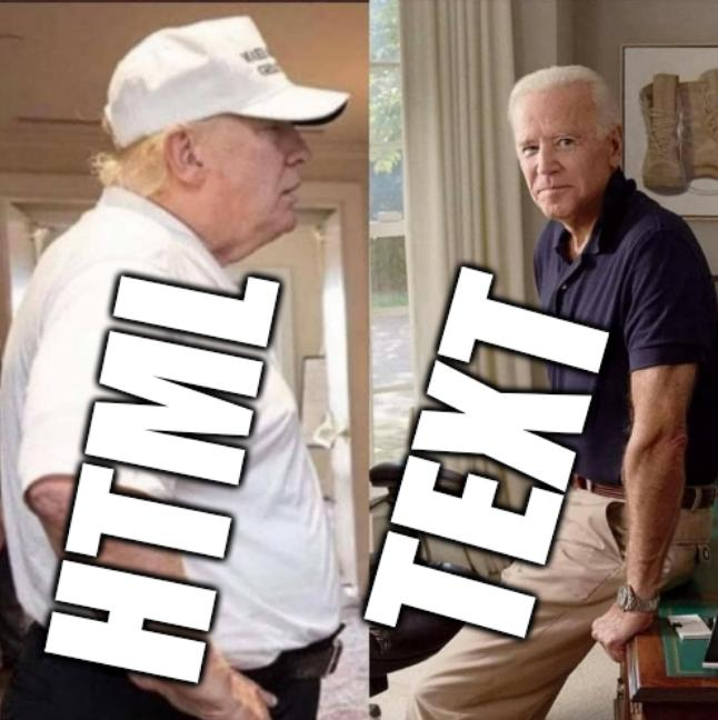 Aging gracefully, Trump vs Biden: HTML, Text