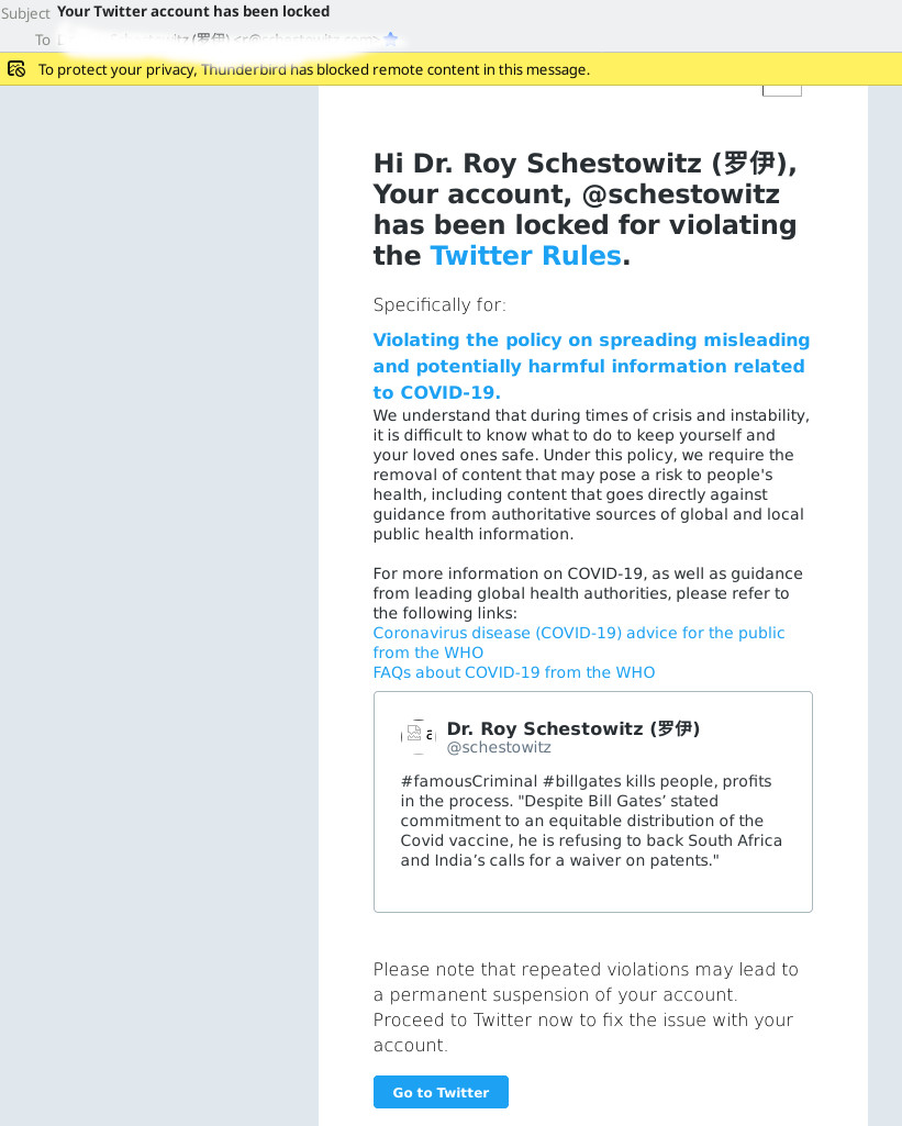 Bill Gates Twitter censorship E-mail