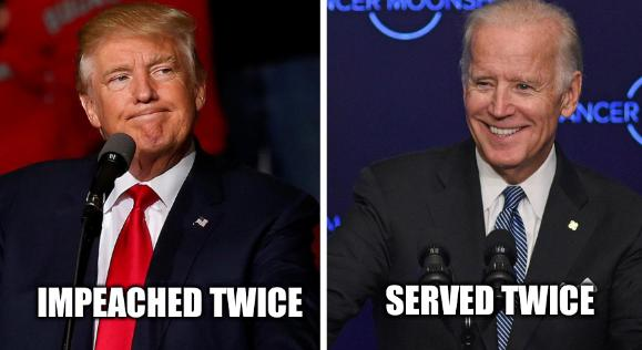 Trump frowns Biden and God smile meme: Impeached twice; Served twice