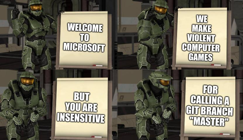 Master Chief's Plan-(Despicable Me Halo): Welcome to Microsoft, We make violent computer games, But you are insensitive, For calling a git branch 'master'
