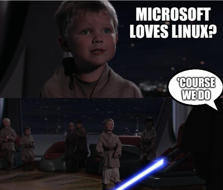 Master Skywalker Youngling: Microsoft loves Linux? 'Course we do