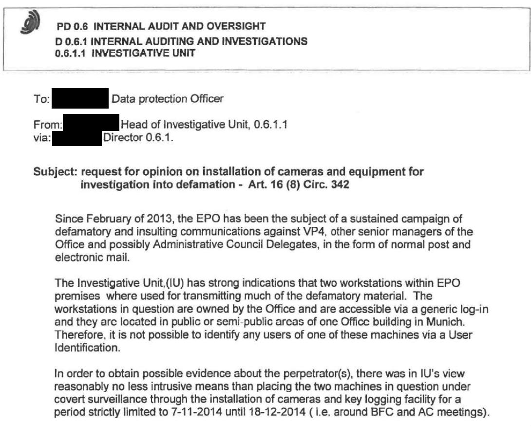 EPO data protection