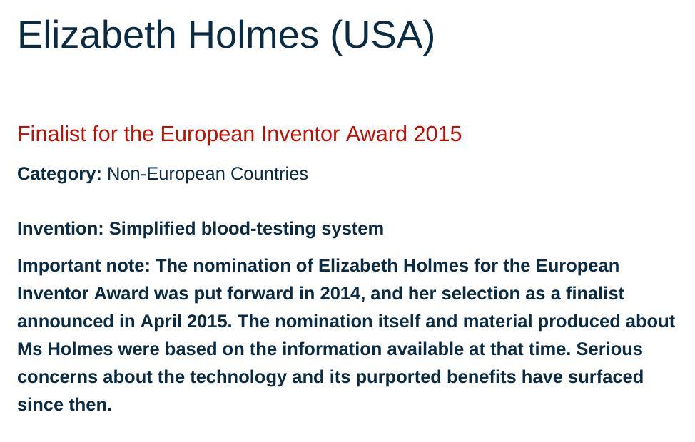 Elizabeth Holmes at EPO site
