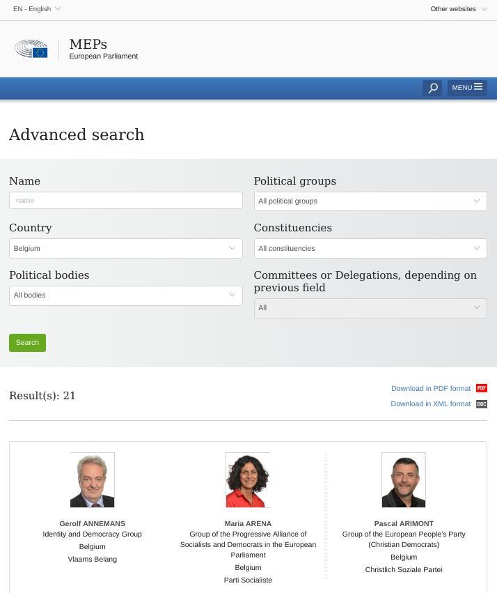 MEPs list