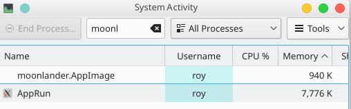 RAM usage of Moonlander