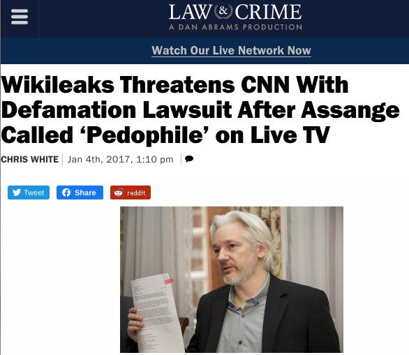 Wikileaks Threatens CNN With Defamation Lawsuit After Assange Called 'Pedophile' on Live TV