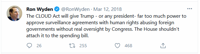 Ron Wyden on CLOUD Act