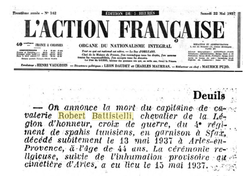 AF (Action française) 22 May 1937 - Robert Battistelli