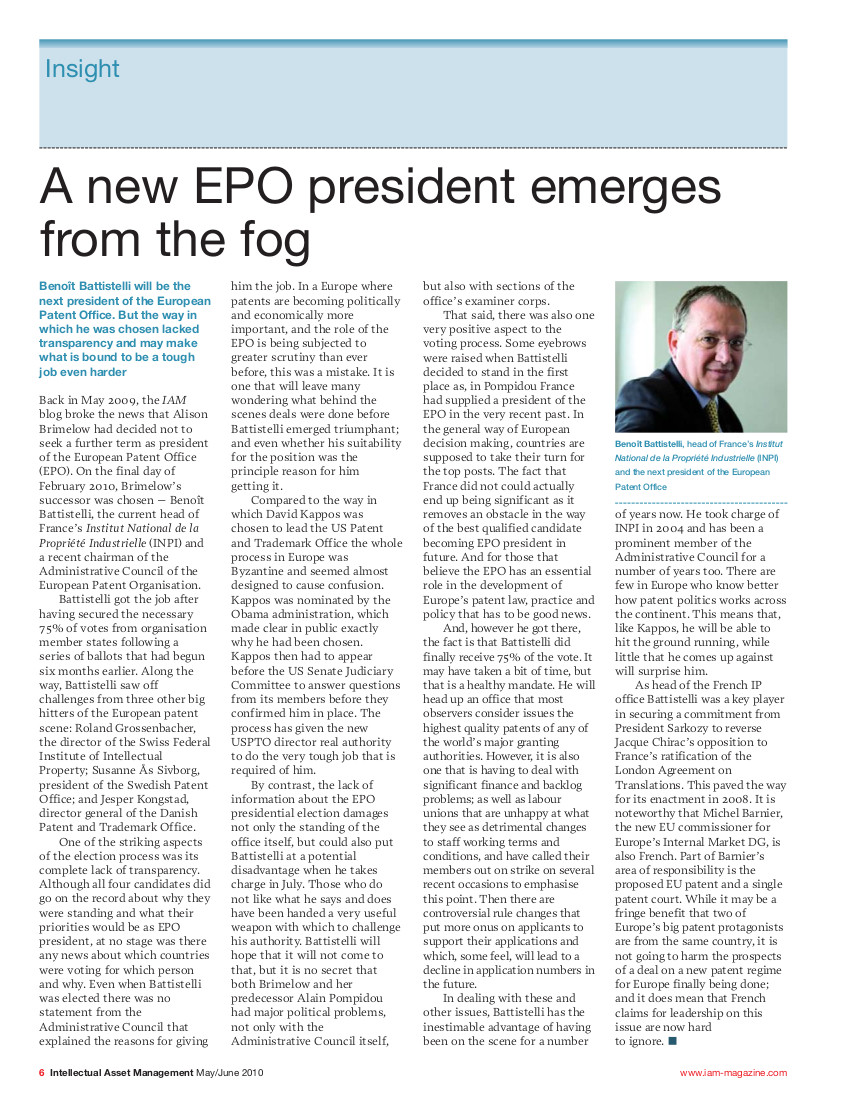 IAM on new EPO President