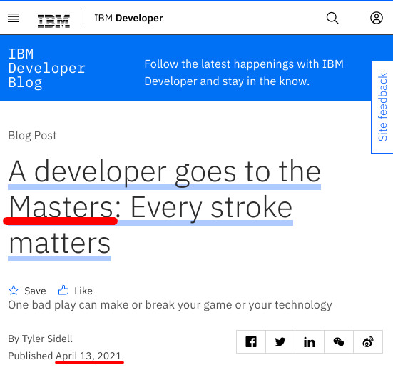 A developer goes to the Masters: Every stroke matters