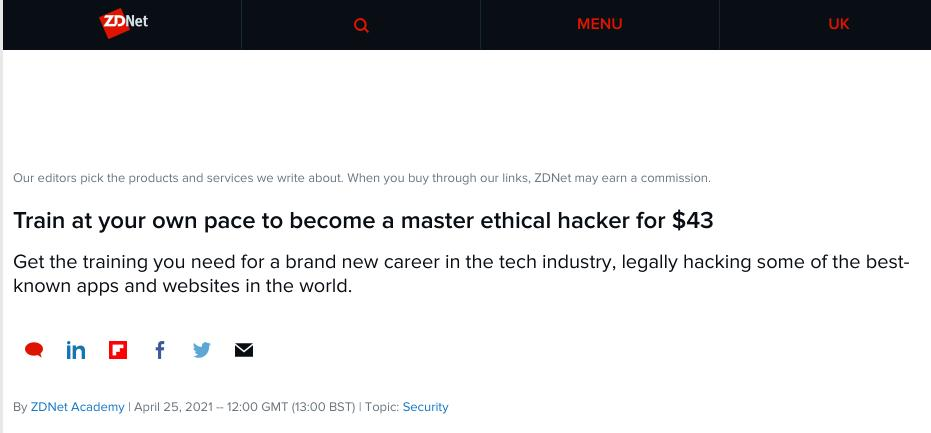 Train at your own pace to become a master ethical hacker for $43