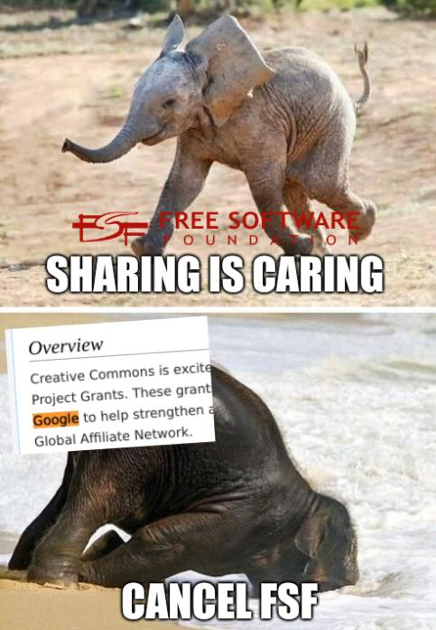 An elephant in the room: Sharing is caring, Cancel FSF