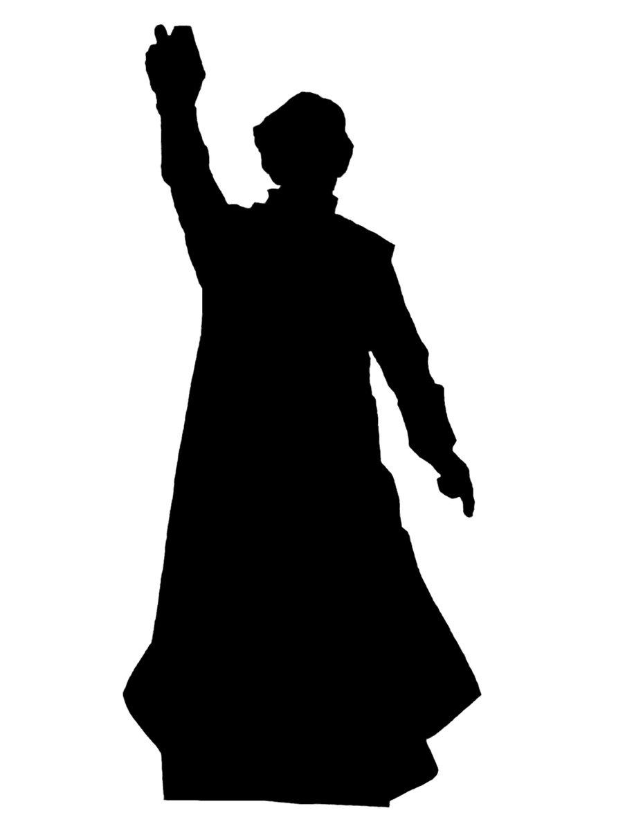 Silhouette of catholic preacher