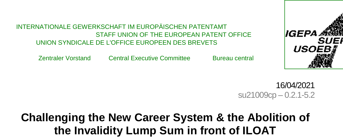 Challenging the New Career System and the Abolition of the Invalidity Lump Sum in front of ILOAT