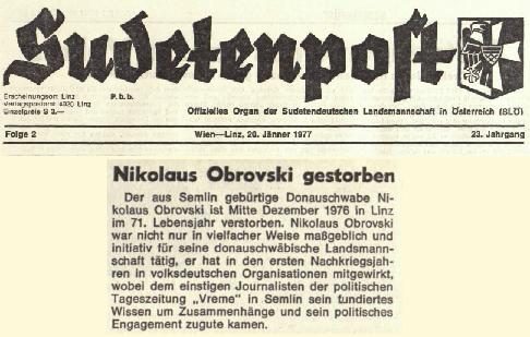 18 - Nikolaus Obrovski Senior - Sudetenpost 1977