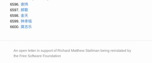 6,600 signatures in support of Richard Stallman