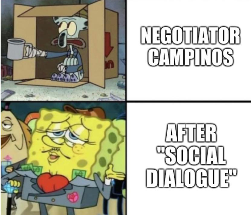 Negotiator Campinos; After 'social dialogue'