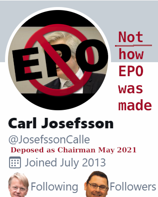 Deposed as Chairman May 2021; Not how EPO was made
