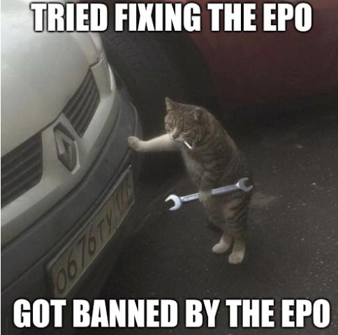 Tried fixing the EPO. Got banned by the EPO.