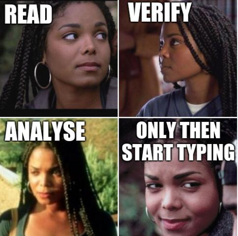 Read, Verify, Analyse, Only then start typing
