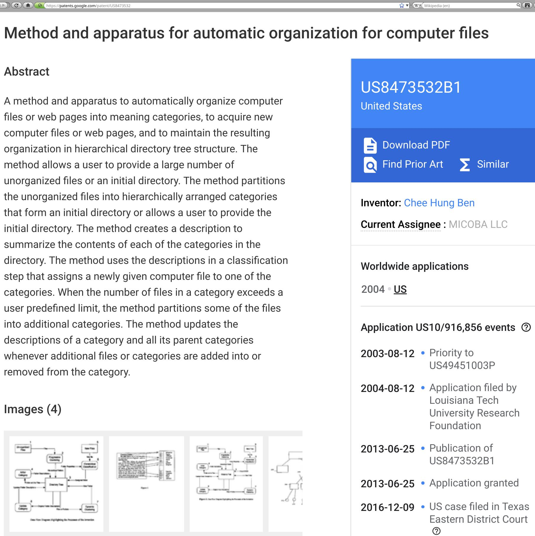 A patent on organising files