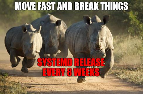 Move fast and break things; systemd release every 8 weeks