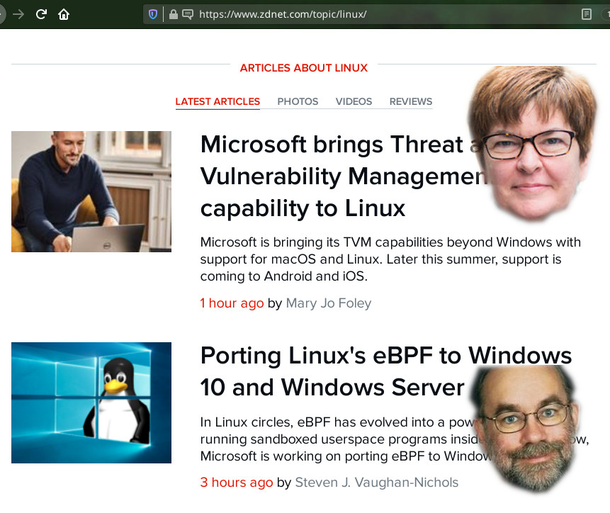 ZDNet's 'Linux' section...