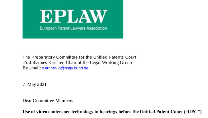 EPLAW letter to UPC Preparatory Committee opening