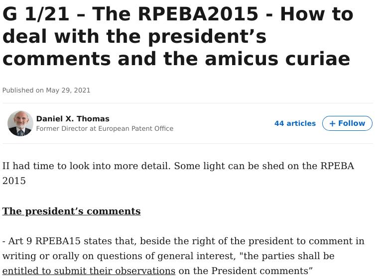 G 1/21 – The RPEBA2015 - How to deal with the president's comments and the amicus curiae