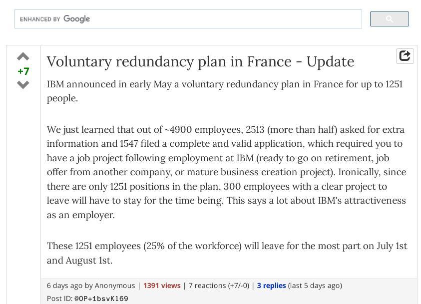 Voluntary redundancy plan in France - Update