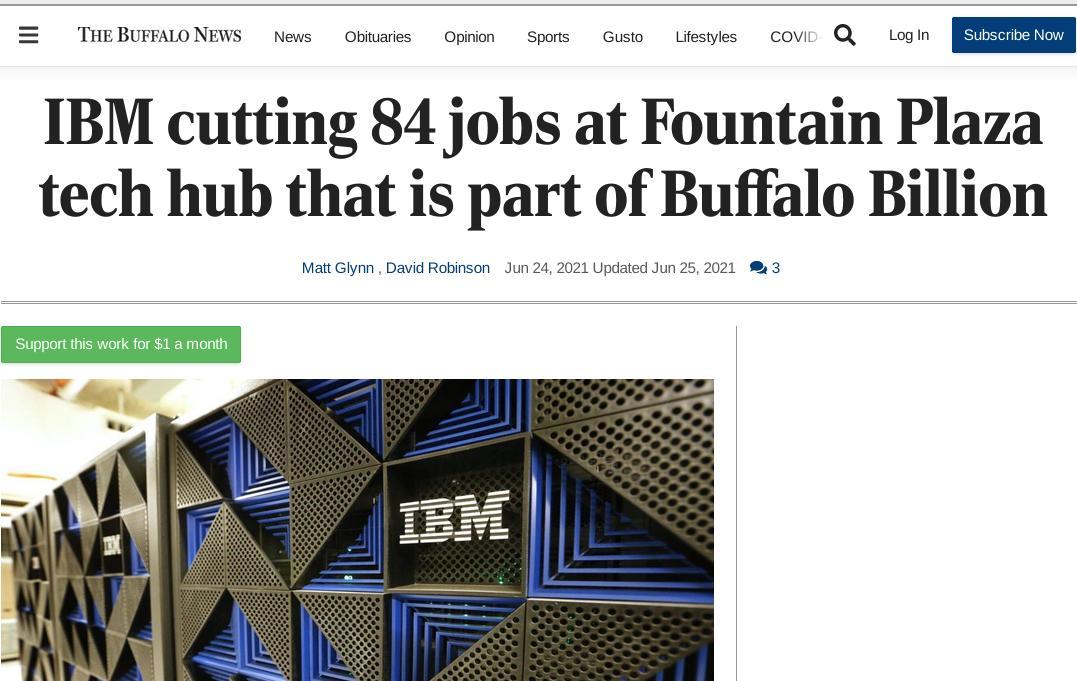 IBM cutting 84 jobs at Fountain Plaza tech hub that is part of Buffalo Billion