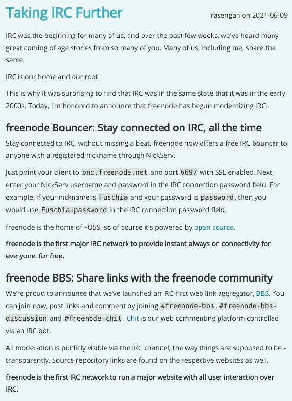 IRC further