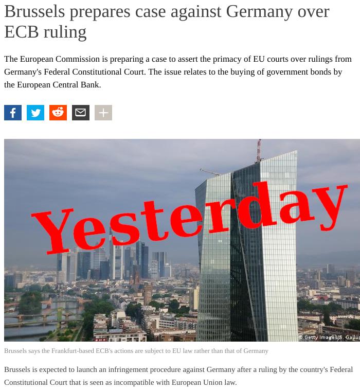 Brussels prepares case against Germany over ECB ruling