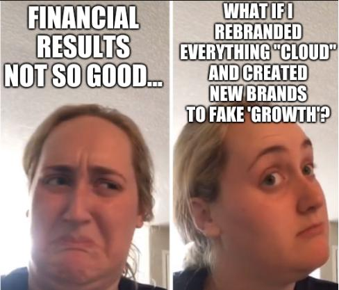 Kombucha Girl: Financial Results Not So Good... what if I rebranded everything 'cloud' and created new brands to fake 'growth'?