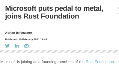 Microsoft puts pedal to metal, joins Rust Foundation