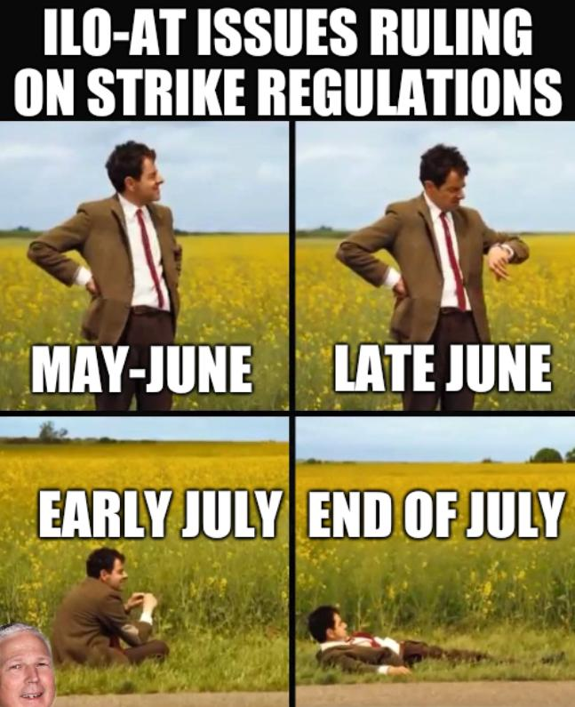 ILO-AT issues ruling on strike regulations; May-June, Late June, Early July, End of July